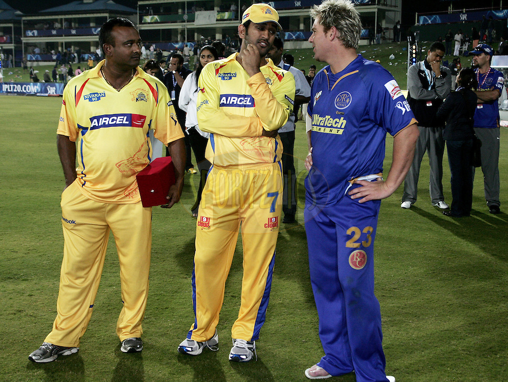 CENTURION, SOUTH AFRICA - 30 April 2009.  during the  IPL Season 2 match between the Rajasthan Royals and the Chennai Superkings held at  in Centurion, South Africa. Shane Warne and MS Dhoni.