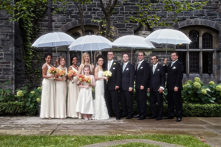 A rainy day didn't stop the bridal party from posing for formals. To view Myriam and Cory's complete Wedding Gallery Collection, please visit the Client Area and log-in. You'll be able to view these and other images as a slideshow, order prints and more.<br /> <br /> &copy; Images of a Promise by Dean Oros Photo + Design
