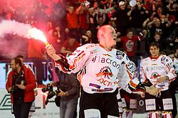 Miha Logar of Jesenice celebrates after ice hockey match between HDD Olimpija Ljubljana and HDD SIJ Acroni Jesenice in Final of Slovenian League 2016/17, on April 12, 2017 in Hala Tivoli, Ljubljana, Slovenia. Photo by Matic Klansek Velej / Sportida