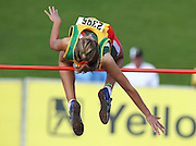 GERMISTON, SOUTH AFRICA, Friday 29 March 2012, Tanya Van Deventer in the girls high jump during the Yellow Pages South African Junior and Schools Athletic Championships at the Germiston Stadium..Photo by Roger Sedres/Image SA