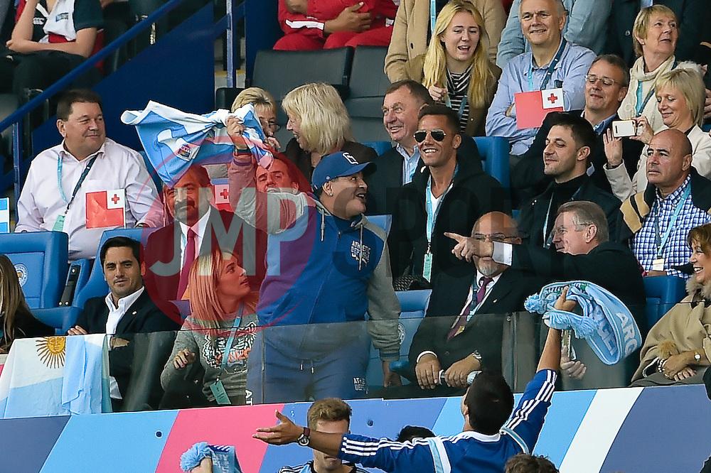 Former Argentine professional footballer Diego Maradona celebrates an Argentina try - Mandatory byline: Patrick Khachfe/JMP - 07966 386802 - 04/10/2015 - RUGBY UNION - Leicester City Stadium - Leicester, England - Argentina v Tonga - Rugby World Cup 2015 Pool C.