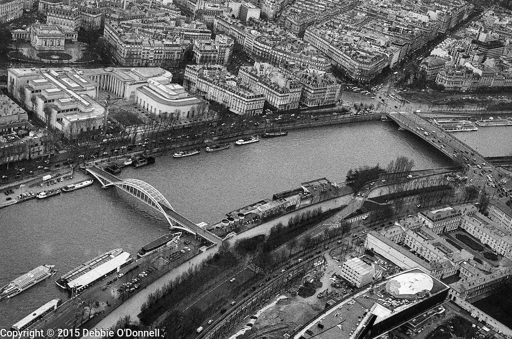 A view of the River Seine, bridges and buildings from the Eiffel Tower, Paris.