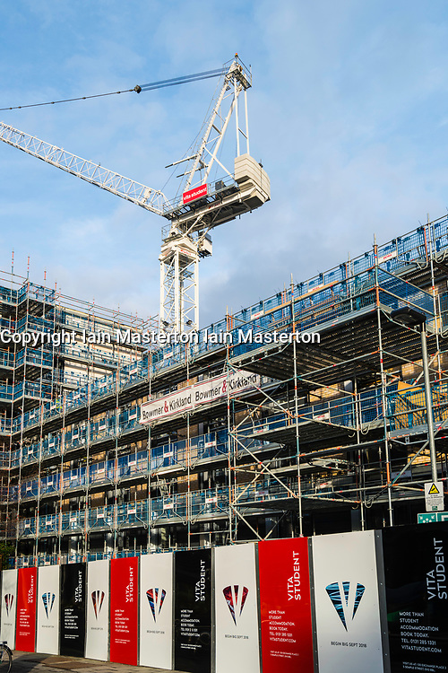 View of new student flats , Vita Student, under construction at Fountainbridge in Edinburgh, Scotland, United Kingdom