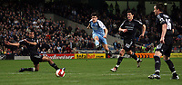 Photo: Paul Thomas.<br /> Manchester City v Chelsea. The Barclays Premiership. 14/03/2007.<br /> <br /> Joey Barton (Light Blue) of City shoots for goal past Chelsea's Ashley Cole (L) Michael Ballack and John Terry (R).