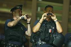 August 22, 2017 - Nice, France - Two police agents monitoring the Nice supporters stands  during the UEFA Champions League Qualifying Play-Offs round, second leg match, between OGC Nice and SSC Napoli at Allianz Riviera Stadium on August 22, 2017 in Nice, France. (Credit Image: © Matteo Ciambelli/NurPhoto via ZUMA Press)
