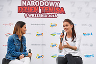 Warsaw, Poland - 2018 September 09: (L) Journalist Sylwia Dekiert talks with tennis player Agnieszka Radwanska while National Tennis Day of Polish Tennis Association at PGE Stadion Narodowy on September 09, 2018 in Warsaw, Poland.<br /> <br /> Mandatory credit:<br /> Photo by © Adam Nurkiewicz / Mediasport<br /> <br /> Adam Nurkiewicz declares that he has no rights to the image of people at the photographs of his authorship.<br /> <br /> Picture also available in RAW (NEF) or TIFF format on special request.<br /> <br /> Any editorial, commercial or promotional use requires written permission from the author of image.