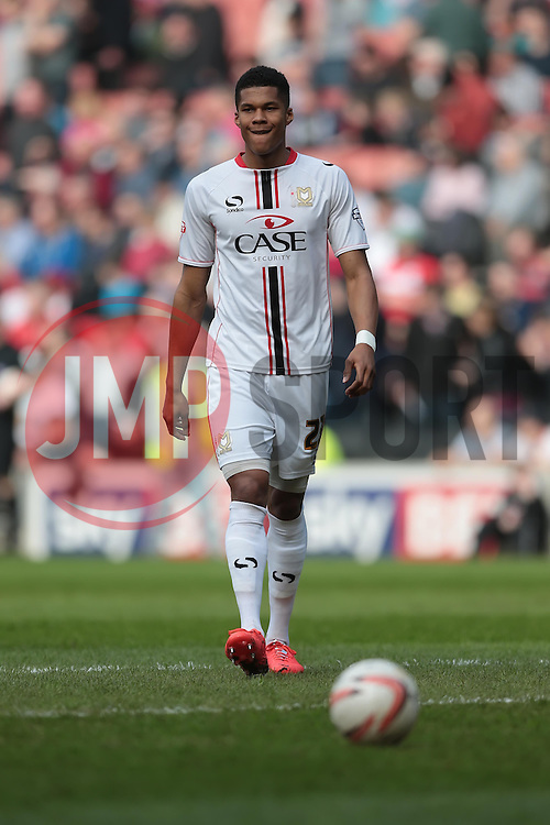 MK Dons defender Jordan Spence (23)  - Photo mandatory by-line: Nigel Pitts-Drake/JMP - Tel: Mobile: 07966 386802 29/03/2014 - SPORT - FOOTBALL -  Stadium MK - Milton Keynes - Milton Keynes Dons v Wolverhampton Wanderers - Sky Bet League One