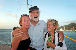 06 April 2011. St Maarten, Antilles, Caribbean.<br /> Anthony Smith (84 yrs old) British adventurer is greeted after he arrives in the islands following his epic 9 week trans-Atlantic raft voyage from the Canary islands. <br /> Photo; Charlie Varley/varleypix.com