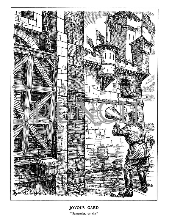 "Joyous Gard. ""Surrender, or die."" (Hitler threatens Britain at the edge of her castle moat, draw bridge up)"