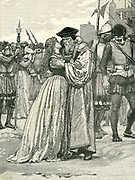 Thomas More (1478-1535) English scholar and statesman. Author of 'Utopia', friend of Erasmus. Lord Chancellor to Henry VIII. Artist's impression of him bidding farewell to his daughter before his execution, 22 June 1535. Wood engraving.