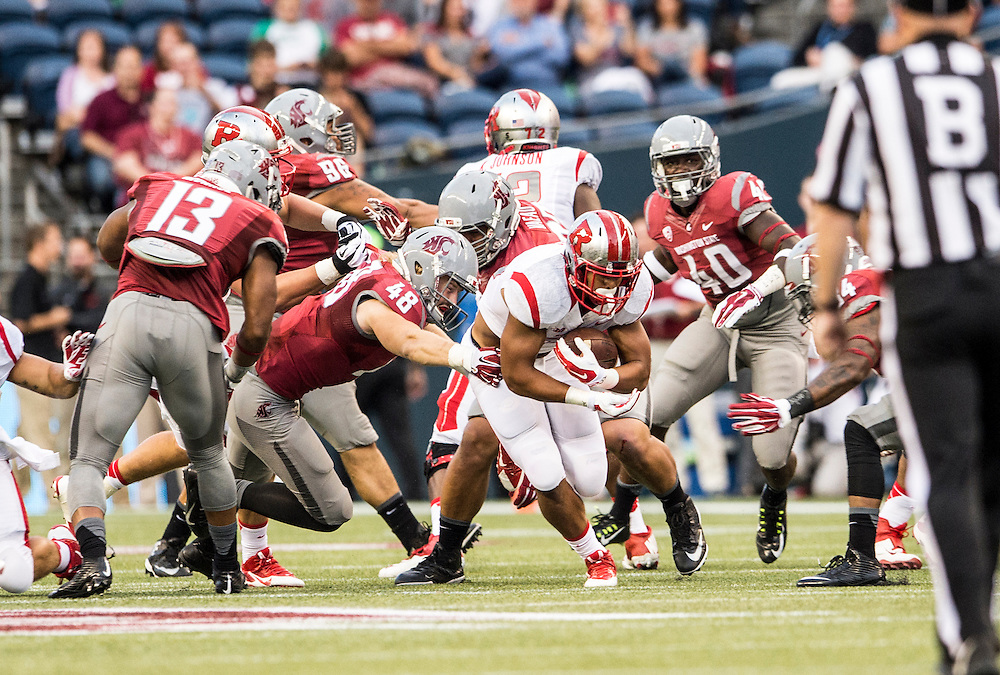 The Rutgers Scarlet Knights football team take on the Washington State Cougars in the season opener at Century Link Field in Seattle, WA on Thursday night, August 28, 2014.<br />