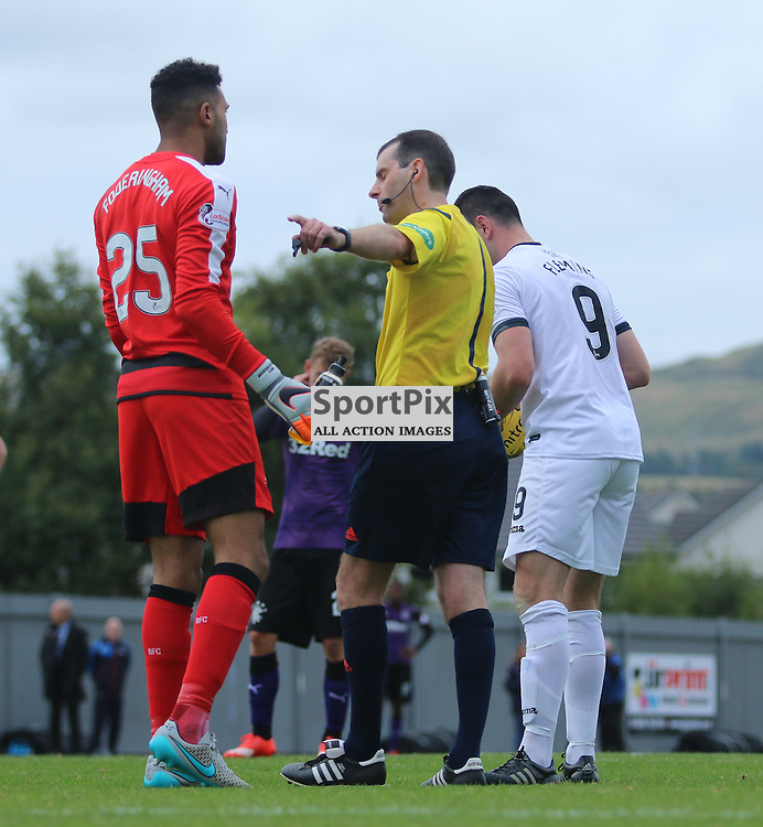 Foderingham Joins in the debate about the penalty  during the Dumbarton FC v Rangers FC Scottish Championship 19th September 2015 <br /> <br /> (c) Andy Scott | SportPix.org.uk