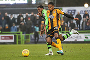 Cambridge United's Jevani Brown(20) and Forest Green Rovers Reece Brown(10) challenge for the ball during the EFL Sky Bet League 2 match between Forest Green Rovers and Cambridge United at the New Lawn, Forest Green, United Kingdom on 20 January 2018. Photo by Shane Healey.