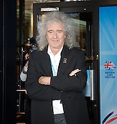 Conservative Party Conference, ICC, Birmingham, Great Britain <br /> Day 3<br /> 9th October 2012 <br /> <br /> Brian May <br /> outside the Hyatt Hotel <br /> <br /> Photograph by Elliott Franks<br /> <br /> United Kingdom<br /> Tel 07802 537 220 <br /> elliott@elliottfranks.com<br /> <br /> ©2012 Elliott Franks<br /> Agency space rates apply