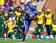 Hampton University sophomore Javaris Brown takes this catch from David Legree for 30 yards during their 7 - 6 win over Norfolk State at Armstrong Stadium on the campus of  Hampton University in Hampton, Virginia.   (Photo by Mark W. Sutton)