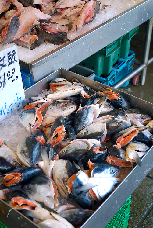 Salmon parts for sale in Chinese market within the China Town area of Vancouver, BC