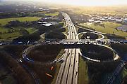 Nederland, Gelderland, Hoevelaken, 01-20-2011.Rijskweg A28 en de A1,.Bij knooppunt Hoevelaken is een file aan het ontstaan..The beginning of traffic jam at junction Hoevelaken..luchtfoto (toeslag), aerial photo (additional fee required) .copyright foto/photo Siebe Swart