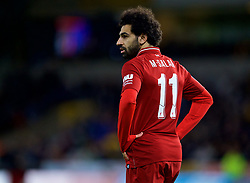 WOLVERHAMPTON, ENGLAND - Monday, January 7, 2019: Liverpool's Mohamed Salah looks dejected during the FA Cup 3rd Round match between Wolverhampton Wanderers FC and Liverpool FC at Molineux Stadium. Wolverhampton Wanderers won 2-1. (Pic by David Rawcliffe/Propaganda)