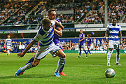 Queens Park Rangers forward Jan Mlakar (16) battles for possession with Portsmouth defender Brandon Haunstrup (38) during the EFL Cup match between Queens Park Rangers and Portsmouth at the Kiyan Prince Foundation Stadium, London, England on 28 August 2019.