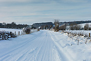 Snowy landscape in Swinbrook in The Cotswolds, UK