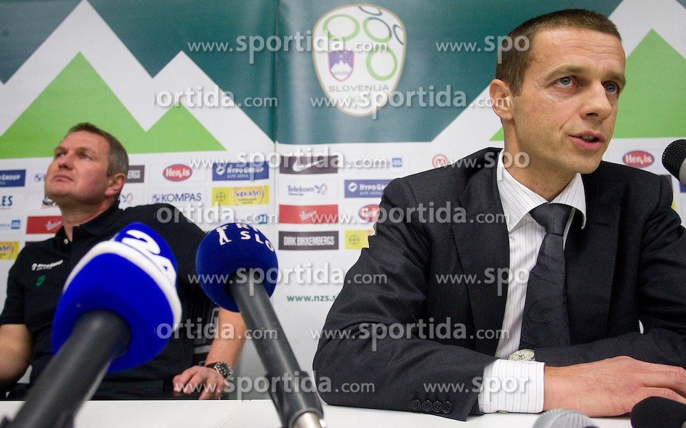 Head coach Matjaz Kek and president of NZS Aleksander Ceferin  during press conference of National team of Slovenia 1 day before EURO 2012 Qualifications match against Italy, on March 24, 2011, SRC Stozice, Ljubljana, Slovenia. (Photo by Vid Ponikvar / Sportida)