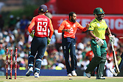 Adil Rashid celebrates his wicket of Temba Bavuma during the International T20 match between South Africa and England at Supersport Park, Centurion, South Africa on 16 February 2020.