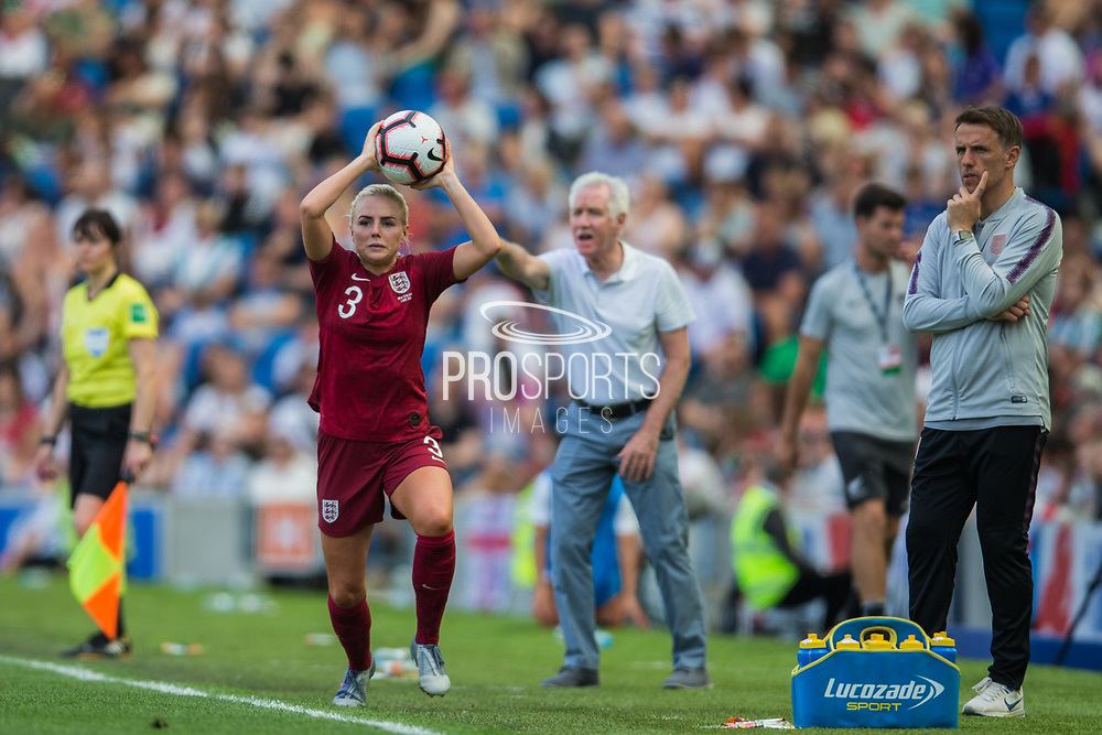 Alex Greenwood (England) with a thrown in during the FIFA Women's World Cup UEFA warm up match between England Women and New Zealand Women at the American Express Community Stadium, Brighton and Hove, England on 1 June 2019.