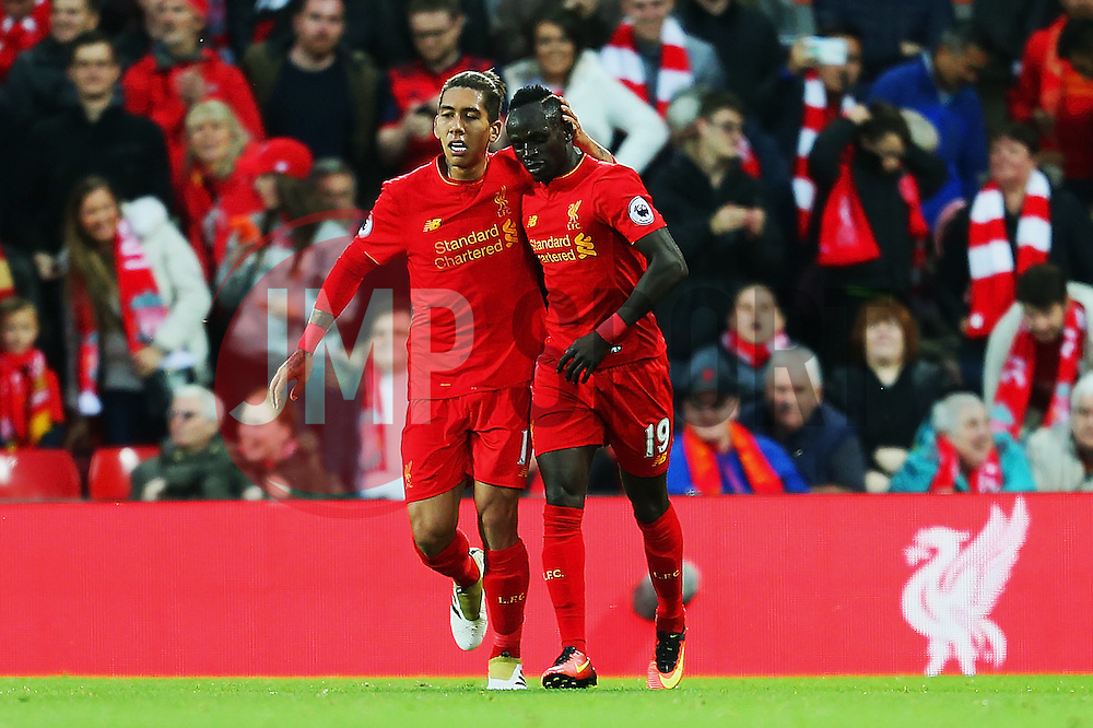 Sadio Mane of Liverpoolcelebrates after scoring his sides first goal  - Mandatory by-line: Matt McNulty/JMP - 22/10/2016 - FOOTBALL - Anfield - Liverpool, England - Liverpool v West Bromwich Albion - Premier League