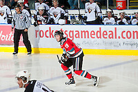 KELOWNA, CANADA - OCTOBER 3: Myles Bell #29 of the Kelowna Rockets skates against the Vancouver Giants at the Kelowna Rockets on October 3, 2012 at Prospera Place in Kelowna, British Columbia, Canada (Photo by Marissa Baecker/Getty Images) *** Local Caption *** Myles Bell;