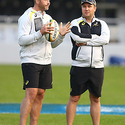 DURBAN, SOUTH AFRICA - AUGUST 07: Richie Gray (Breakdown Consultant) with De Jongh Borchardt (Communications Manager) during the Springboks captains run at Growthpoint Kings Park on August 07, 2015 in Durban, South Africa. (Photo by Steve Haag/Gallo Images)