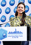 """Vanessa Lachey speaks as P&G Launches """"Everyday Effect Campaign"""" in Herald Square in New York City, New York on June 19, 2013."""