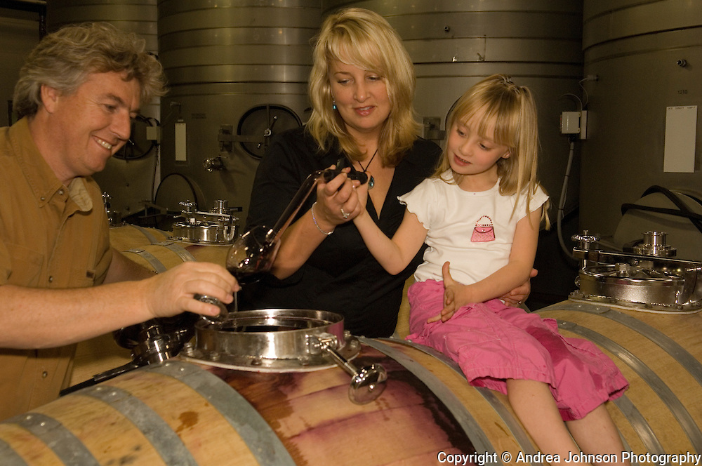 Montalieu family portraits:  Laurant, Danielle, and daughter Solena at N.W. Wine  Co custom crush facilities