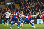 Tottenham Hotspur forward Harry Kane (10), Crystal Palace defender Martin Kelly (34), Crystal Palace defender Mamadou Sakho (12) during the Premier League match between Crystal Palace and Tottenham Hotspur at Selhurst Park, London, England on 26 April 2017. Photo by Sebastian Frej.