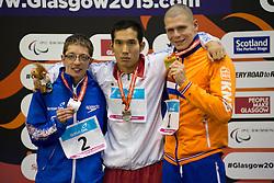 QUIN Scott, TANAKA Yasuhiro, EVERS Marc GBR, JPN, NED at 2015 IPC Swimming World Championships -  Men's 100m Breastroke SB14 PODIUM