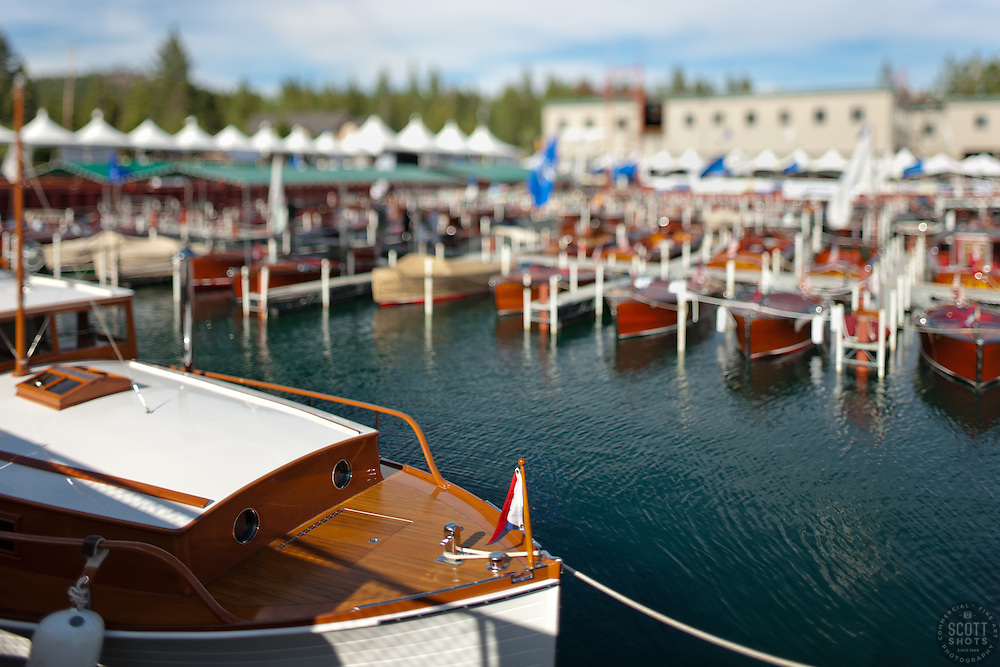 """Toy Boats at the Concours d'Elegance 3"" - Photograph of classic wooden boats from the 2011 Tahoe Concours d'Elegance.  The toy boat effect was achieved using a tilt-shift lens."