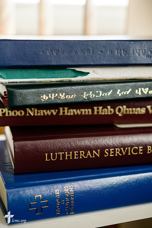 Hymnals in different languages at the home of Deaconess Sandra Rhein on Friday, Feb. 2, 2018, in South Bend, Ind. LCMS Communications/Erik M. Lunsford