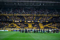 2019-09-01 | Solna, Sweden: AIKs tifo during the game between AIK and Djurgårdens IF at Friends Arena ( Photo by: Simon Holmgren | Swe Press Photo )<br /> <br /> Keywords: Friends Arena, Solna, Soccer, Allsvenskan, AIK, Djurgårdens IF