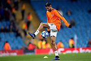 Manchester City midfielder Riyad Mahrez (26) warming up during the Champions League match between Manchester City and Shakhtar Donetsk at the Etihad Stadium, Manchester, England on 7 November 2018.