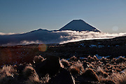 mountain cloud hangs low at the foot of mt doom seen here in silhouette, with the snow and rock tussock foreground of mt ruapehu, tongariro national park, new zealand