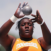 14 June, 2008:  Tennessee's Annie Alexander is a study in concentration as she prepares to put the shot at the NCAA Division 1 Men's and Women's Track & Field Championships in Des Moines, Iowa.   David Peterson