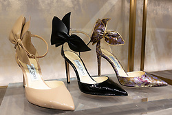 Jimmy Choo shoes on display in store at Dubai Mall, UAE