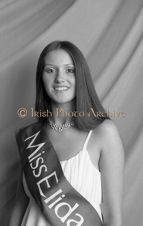 """""""Miss Elida"""" Final At Mosney, Co Meath..1976..01.09.1976..09.01.1976..1st September 1976..The final of the """"Miss Elida"""" lovely hair competition was held in The Gaiety Theatre,Butlins Holiday Centre,Mosney,Co Meath tonight. The competition is sponsored by Lever Bros,Sheriff St,Dublin. The shows compere was Mr Mike Murphy..Portrait of Ms Frances Campbell, the winner of the """"Miss Elida"""" lovely hair competition 1976."""