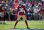 San Francisco 49ers defensive back Marcell Harris (36) during an NFL football game against the Los Angeles Rams, Sunday, Oct. 13, 2019, in Los Angeles. The 49ers defeated the Rams 20-7. (Dylan Stewart/Image of Sport)
