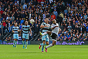 Queens Park Rangers forward Conor Washington (9) can only watch during the EFL Sky Bet Championship match between Fulham and Queens Park Rangers at Craven Cottage, London, England on 1 October 2016. Photo by Jon Bromley.