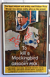 06 February 2015. Monroeville, Alabama.<br /> On the trail of Harper Lee's 'To Kill a Mocking Bird.'<br /> A copy of the old movie poster at the old courthouse. The courtroom was used as the model for the Hollywood movie. The building is now the Monroe County Museum at the center of the old town. <br /> Photo; Charlie Varley/varleypix.com