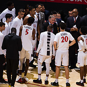 22 December 2018: San Diego State Aztecs head coach Brian Dutcher talks with the team prior to tip off against the Brigham Young Cougars. The Aztecs beat the Cougars 90-81 Satruday afternoon at Viejas Arena.