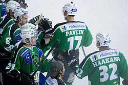 Team HDD Tilia Olimpija celebrating goal at 1st Round ice hockey match of EBEL league between HDD Tilia Olimpija and EV Vienna Capitals, on September 10, 2010, in Hala Tivoli, Ljubljana, Slovenia. (Photo by Matic Klansek Velej / Sportida)