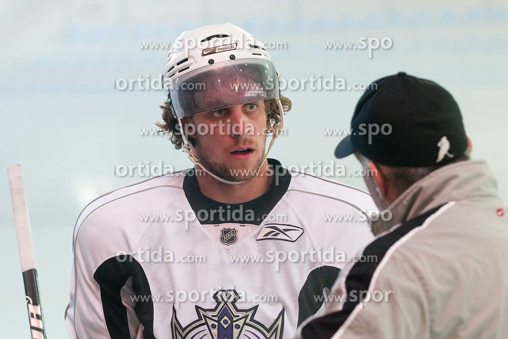 Anze Kopitar, LA Kings #11, with his father Matjaz Kopitar, head coach of Slovenia, at practice of LA Kings superstar Anze Kopitar before NHL League, on August 22, 2011, in Ledena Dvorana, Bled, Slovenia. (Photo by Matic Klansek Velej / Sportida)