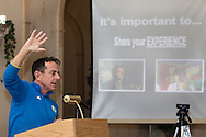 Boston Marathon race director Dave  McGillivray speaks at a special meeting of the  Orange Runners Club at Kuhl's Highland House in Middletown, New York, on March 4, 2015.