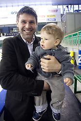 Ex-player of Slovenian Ice Hockey National team  Robert Ciglenecki organized visit of children of kindergarten Mojca from Dravlje, Ljubljana during the IIHF World Championship Division 1 Group B tournament, on April 21, 2010, in Hala Tivoli, Ljubljana, Slovenia.  (Photo by Vid Ponikvar / Sportida)